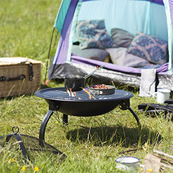 Small Image of La Hacienda Camping Firebowl with Grill and Folding Legs - Black