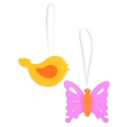 Small Image of Set of Two Acrylic Butterfly & Bird Hanging Suncatcher Ornaments