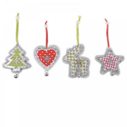 Small Image of Four Hanging Metal Tree Decorations with Snowflake & Checked Fabric Detail