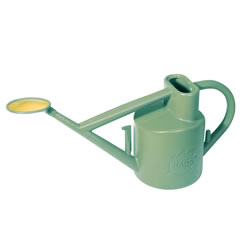 Small Image of Haws Practican 6L Watering Can Brass-Faced Rose + Down Spout - Sage