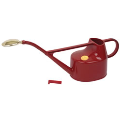Small Image of Haws 5L Deluxe Outdoor Watering Can + Brass Rose + Down Spout - Red