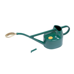 Small Image of Haws 5-Litre Deluxe Outdoor Watering Can + Brass Rose + Down Spout, Green