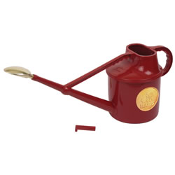 Small Image of Haws 7-Litre Deluxe Outdoor Watering Can + Brass Rose + Down Spout, Red