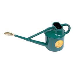 Small Image of Haws 7L Deluxe Outdoor Watering Can + Brass Rose + Down Spout - Green