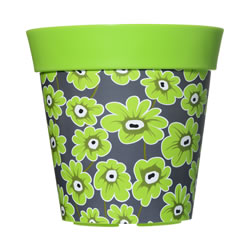 Small Image of Single 22cm Green Floral Plastic Garden Planter 5L Flowerpot by Hum
