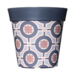 Small Image of Single 22cm Grey Tile Plastic Garden Planter 5L Flowerpot by Hum
