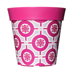 Small Image of Single 22cm Pink Tile Plastic Garden Planter 5L Flowerpot by Hum