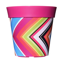 Small Image of Single 22cm Pink Zigzag Plastic Garden Planter 5L Flowerpot by Hum