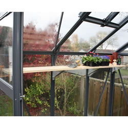 Small Image of Modular Greenhouse Shelving with Timber Slats