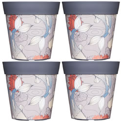 Small Image of 4 x 22cm Grey Ink Fish Plastic Garden Planter 5L Flowerpot by Hum