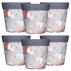 Small Image of 6 x 22cm Grey Ink Fish Plastic Garden Planter 5L Flowerpot by Hum