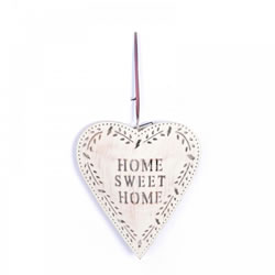 Small Image of Large Rustic Finish Metal 'Home Sweet Home' Heart Decoration