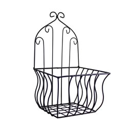 Small Image of Large Black Metal Wall Planter or Pot Holder for the Garden