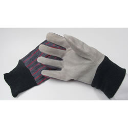 Small Image of Leather-Palmed Gardening/DIY Gloves With Cotton Backing