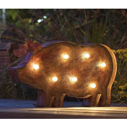 Small Image of Flat Steel LED Pig with solar panel