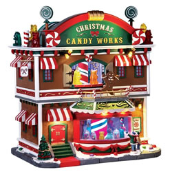Small Image of Lemax Christmas Village - Christmas Candy Works Building with 4.5V Adapter (65164)