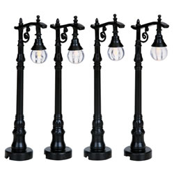 Small Image of Lemax Christmas Village - Antique Street Lamps - Set of 4 - Battery Operated (94993)