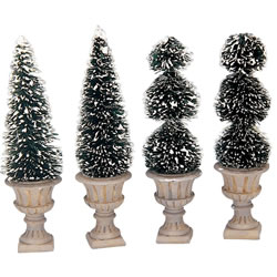 Small Image of Lemax Christmas Village - Cone-Shaped & Sculpted Topiaries Accessories - Set of 4 (34965)