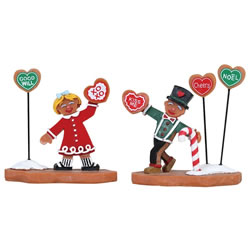 Small Image of Lemax Christmas Village - Cookie Exchange Figurines - Set of 2 (82593)