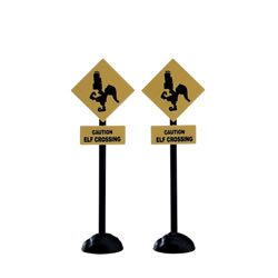 Small Image of Lemax Christmas Village - Elf Crossing Sign Accessories - Set of 2 (74238)