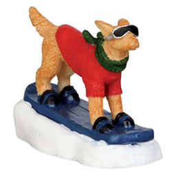 Small Image of Lemax Christmas Village - Snowboarding Dog Figurine (42222)