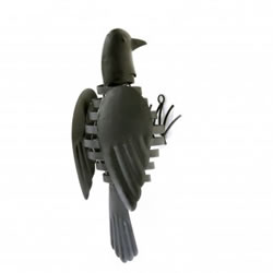 Small Image of Wall Mountable Black Finish Metal Garden Bird With Flapping Wings