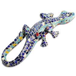 Small Image of Mosaic Coloured Blue Lizard Garden Ornament