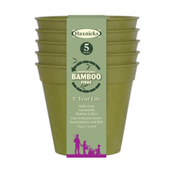 Small Image of Haxnicks Sage Green 15cm Bamboo Plant Pots Biodegradable (Pack of 5)