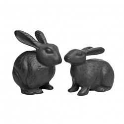 Small Image of Pair of Cast Iron Rabbit Garden Ornaments in Black