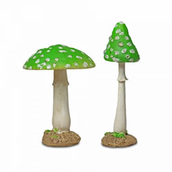 Small Image of Pair of Green Coloured Resin Mushroom Toadstool Garden Ornaments