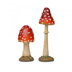 Small Image of Pair of Red Pointed Mushroom Toadstool Garden Ornaments