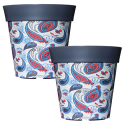Small Image of 2 x 22cm Grey Paisley Plastic Garden Planter 5L Flowerpot by Hum