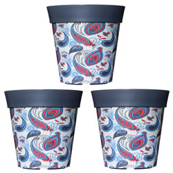 Small Image of 3 x 22cm Grey Paisley Plastic Garden Planter 5L Flowerpot by Hum