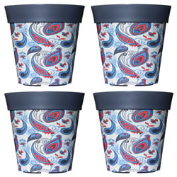 Small Image of 4 x 22cm Grey Paisley Plastic Garden Planter 5L Flowerpot by Hum