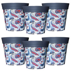 Small Image of 6 x 22cm Grey Paisley Plastic Garden Planter 5L Flowerpot by Hum