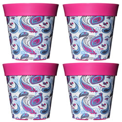 Small Image of 4 x 22cm Pink & Blue Paisley Plastic Garden Planter 5L Flowerpot by Hum