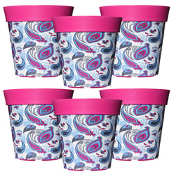 Small Image of 6 x 22cm Pink & Blue Paisley Plastic Garden Planter 5L Flowerpot by Hum