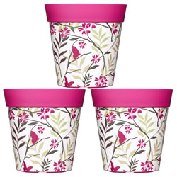 Small Image of 3 x 22cm Pink Birds & Branches Plastic Garden Planter 5L Flowerpot by Hum