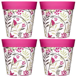 Small Image of 4 x 22cm Pink Birds & Branches Plastic Garden Planter 5L Flowerpot by Hum