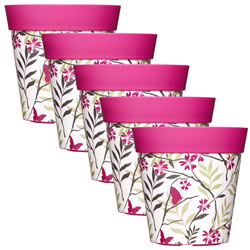 Small Image of 5 x 22cm Pink Birds & Branches Plastic Garden Planter 5L Flowerpot by Hum