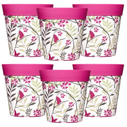 Small Image of 6 x 22cm Pink Birds & Branches Plastic Garden Planter 5L Flowerpot by Hum