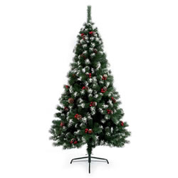 Small Image of Premier 1.8m Snow Tipped Berry and Cone Christmas Tree (TR600ST)