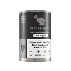 Small Image of Billy & Margot Puppy Chicken with Green Tripe, Rooy Vegetables and Orchard Fruits 12 X 395g tins