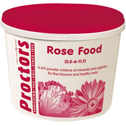 Small Image of 5kg tub of Proctors Rose and garden flower fertiliser in airtight container