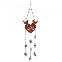 Small Image of Rusty Look Heart Hanger with Birds & Flower Patterned Design
