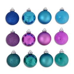 Small Image of Set Of Twelve Blue, Purple & Green Coloured Christmas Tree Baubles