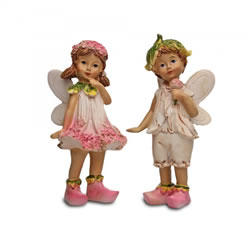 Small Image of Set Of Two Standing Flower Fairy Resin Garden Ornaments