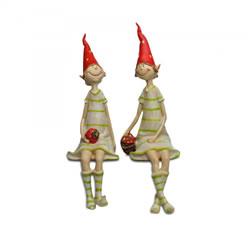 Small Image of Set Of Two Sitting Strawberry Pixie Garden Ornaments In Coloured Resin