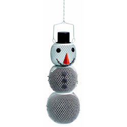Small Image of No/No Solar Powered LED Snowman Wild Bird Feeder