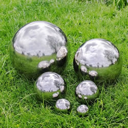 Small Image of Set Of Six Stainless Steel Mirror Sphere Garden Ornaments 6.5, 9, 13, 18, 27 & 35cm